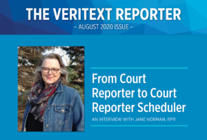 Veritext Reporter Newsletter, the veritext reporter, august, woman smiling